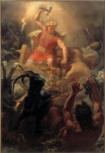 Quadro del 1872 di Mårten Eskil Winge che ritrae Thor, la divinità vichinga / nordica del tuono